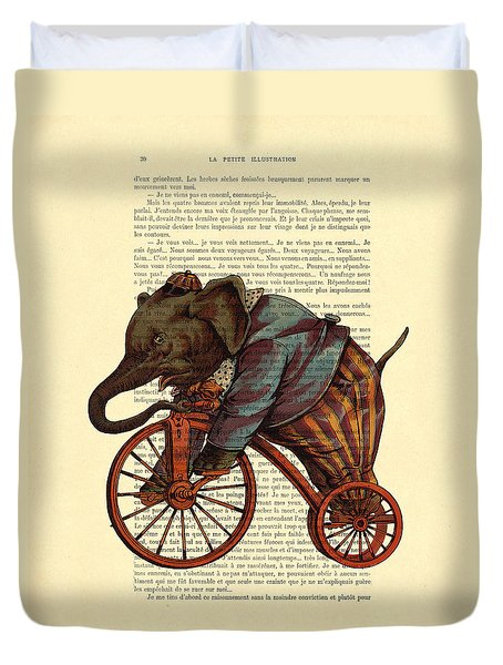 Circus Elephant On Bicycle Duvet Cover