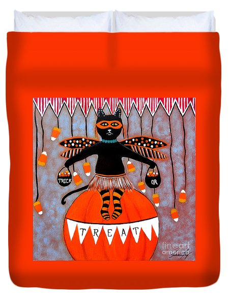 Circus Kitty Candy Corn Halloween Duvet Cover