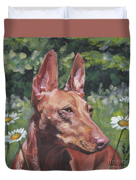 Duvet Cover featuring the painting Cirneco Dell'etna by Lee Ann Shepard