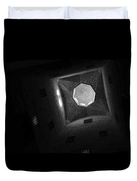 Duvet Cover featuring the photograph Citadel Dome Of Alex Bw by Donna Corless