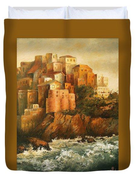 Cinque Terre Lerici Italia Painting Duvet Cover