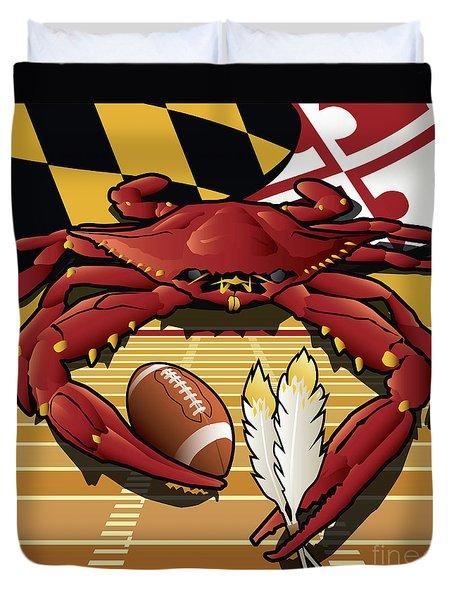 Citizen Crab Redskin, Maryland Crab Celebrating Washington Redskins Football Duvet Cover