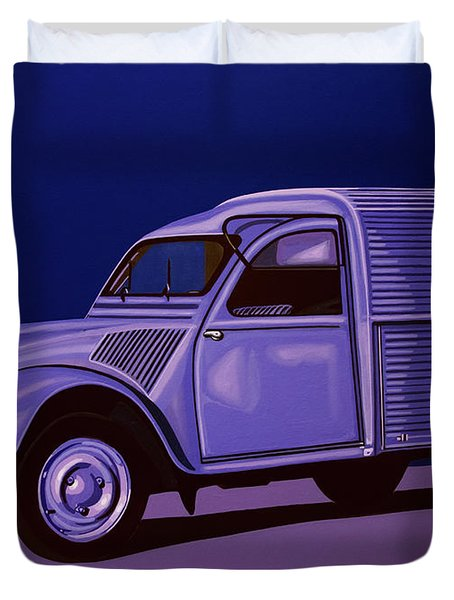 Citroen 2cv Azu 1957 Painting Duvet Cover