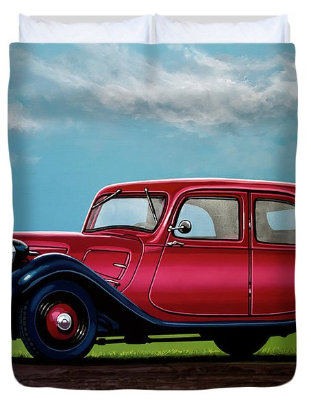 Citroen Traction Avant 1934 Painting Duvet Cover