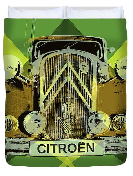 Duvet Cover featuring the digital art Citroen Traction Avant  by Jean luc Comperat
