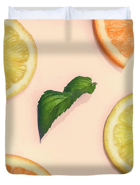 Citrus Pattern On Retro Pink Background Duvet Cover