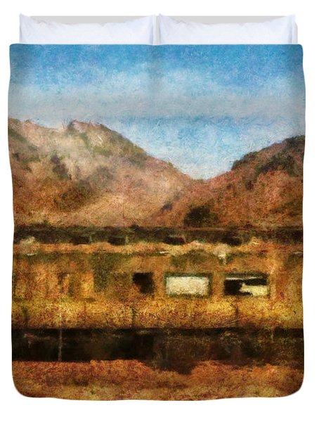 City - Arizona - Desert Train Duvet Cover by Mike Savad