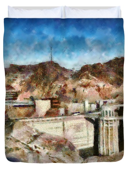 City - Nevada - Hoover Dam Duvet Cover by Mike Savad