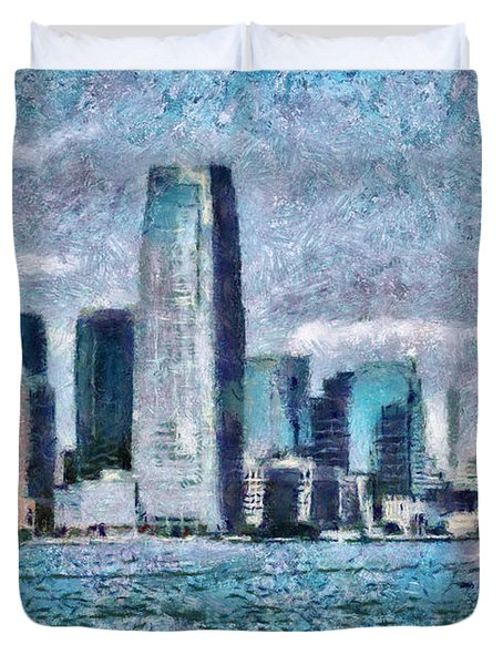 City - Ny - City Of The Future Duvet Cover by Mike Savad