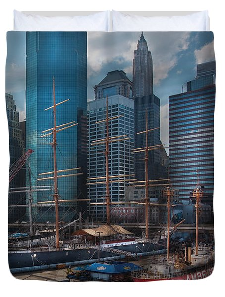 City - Ny - The New City Duvet Cover by Mike Savad