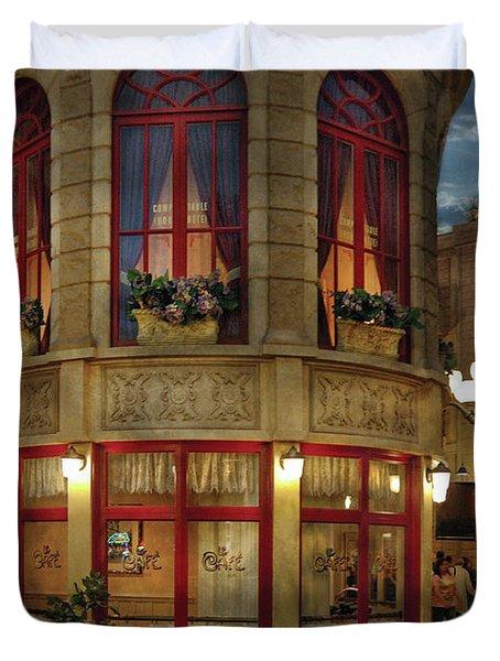 City - Vegas - Paris - Le Cafe Duvet Cover by Mike Savad