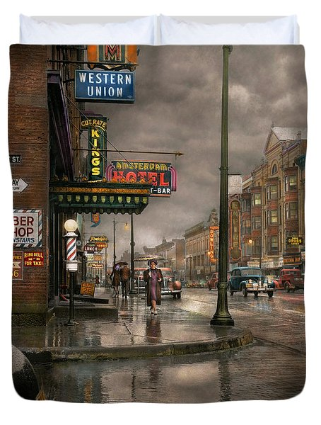City - Amsterdam Ny -  Call 666 For Taxi 1941 Duvet Cover