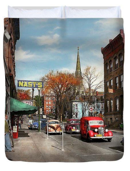 Duvet Cover featuring the photograph City - Amsterdam Ny - Downtown Amsterdam 1941 by Mike Savad