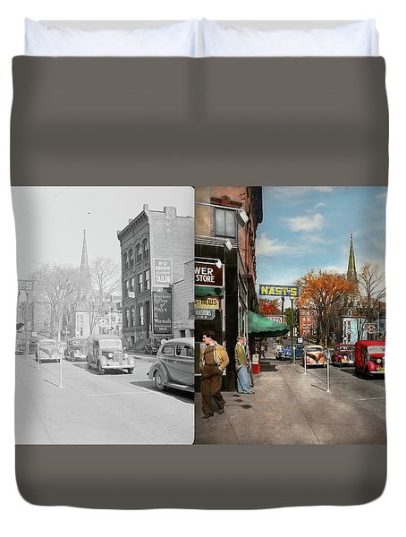 Duvet Cover featuring the photograph City - Amsterdam Ny - Downtown Amsterdam 1941- Side By Side by Mike Savad