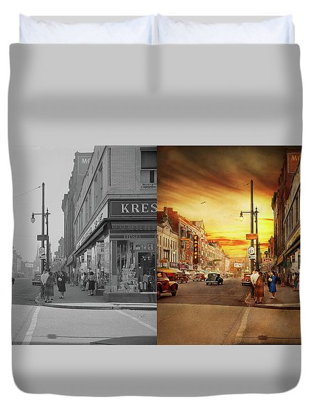 Duvet Cover featuring the photograph City - Amsterdam Ny - The Lost City 1941 - Side By Side by Mike Savad