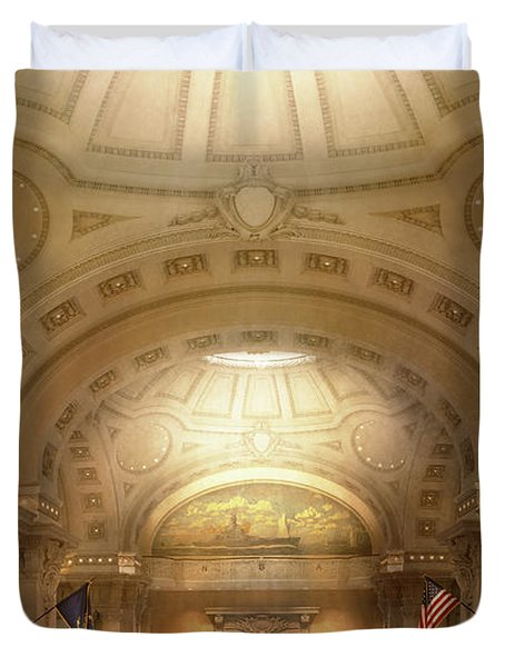 Duvet Cover featuring the photograph City - Annapolis Md - Bancroft Hall by Mike Savad