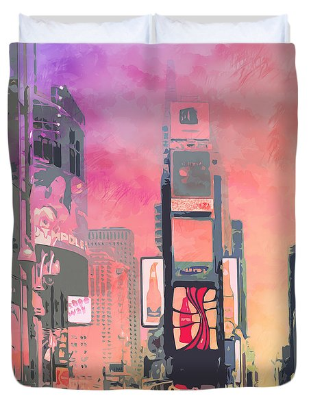 City-art Ny Times Square Duvet Cover