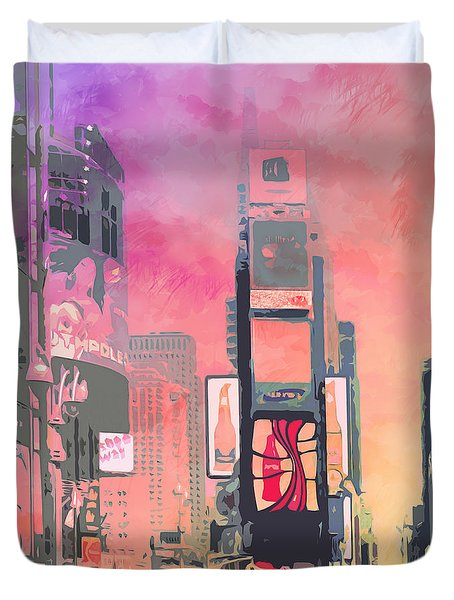 City-art Ny Times Square Duvet Cover by Melanie Viola