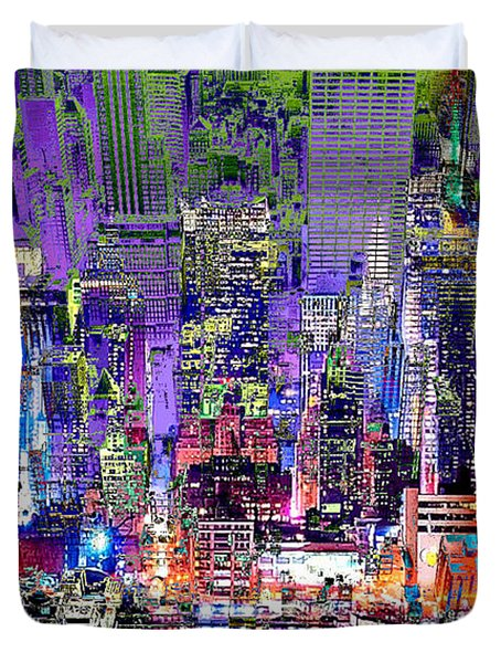City Art Syncopation Cityscape Duvet Cover by Mary Clanahan