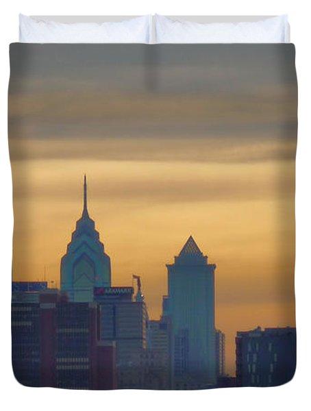 City At Dusk Duvet Cover by Thomas  MacPherson Jr