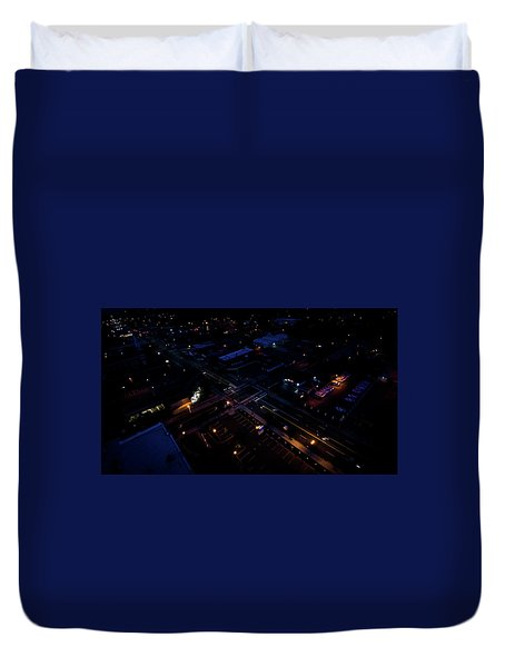 City At Night From Above Duvet Cover