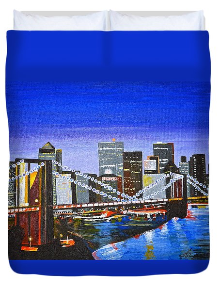 City At Twilight Duvet Cover