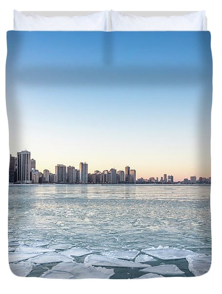 City By The Frozen Lake Duvet Cover