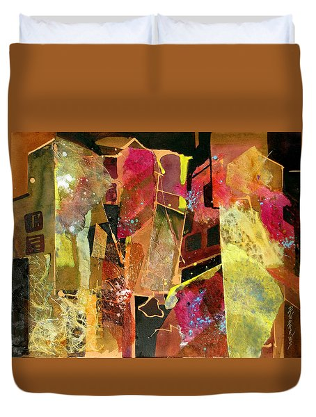 Duvet Cover featuring the painting City Colors by Rae Andrews