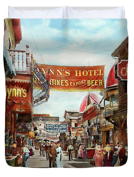 Duvet Cover featuring the photograph City - Coney Island Ny - Bowery Beer 1903 by Mike Savad