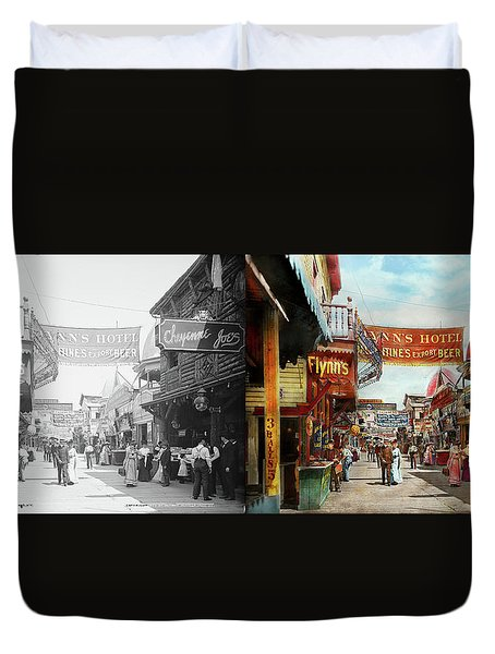 Duvet Cover featuring the photograph City - Coney Island Ny - Bowery Beer 1903 - Side By Side by Mike Savad