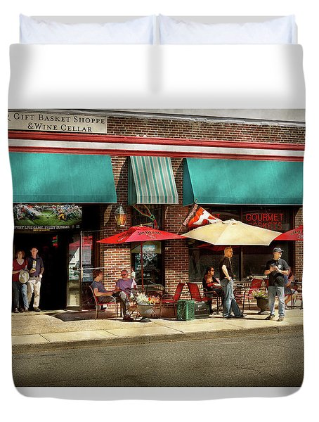 Duvet Cover featuring the photograph City - Edison Nj - Pino's Basket Shop by Mike Savad