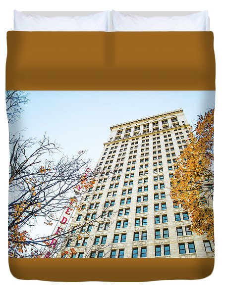 Duvet Cover featuring the photograph City Federal Building In Autumn - Birmingham, Alabama by Shelby Young