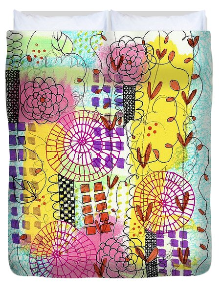 Duvet Cover featuring the mixed media City Flower Garden by Lisa Noneman