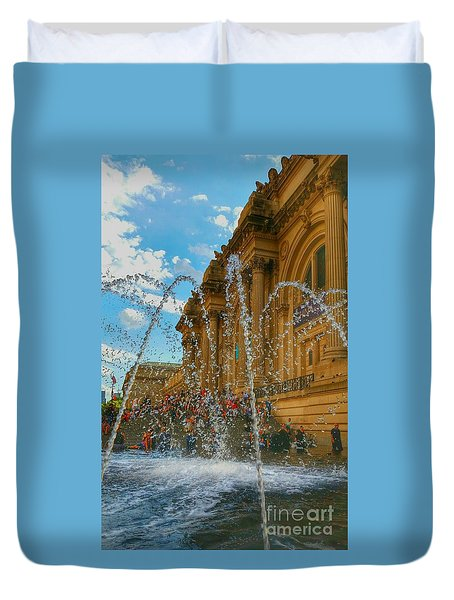 Duvet Cover featuring the photograph City Fountain  by Raymond Earley