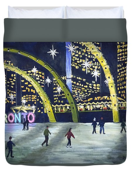 City Hall Christmas Duvet Cover