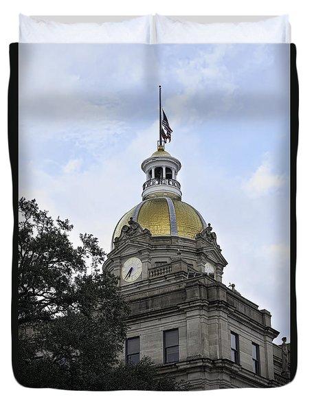 City Hall Savannah Duvet Cover by Judy Wolinsky