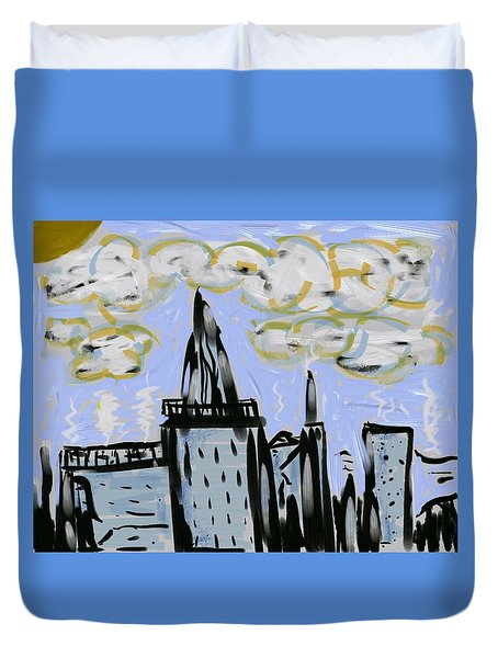 City In Blue Duvet Cover