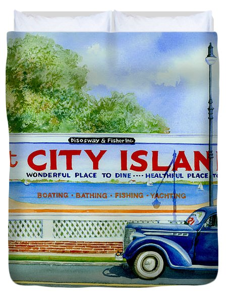 City Island Billboard Duvet Cover by Marguerite Chadwick-Juner