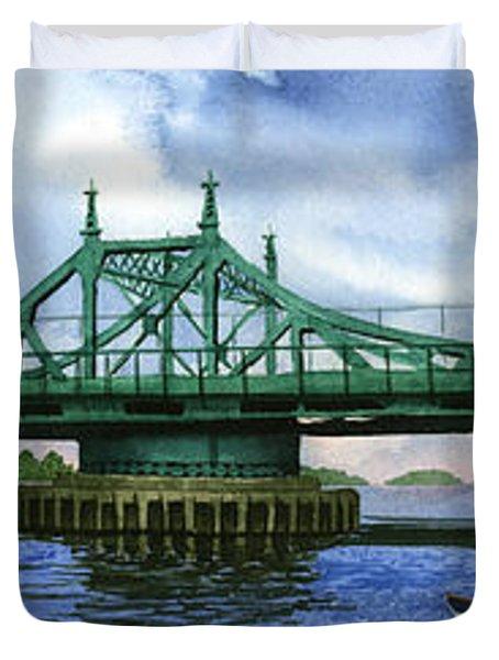 City Island Bridge Summer Duvet Cover by Marguerite Chadwick-Juner