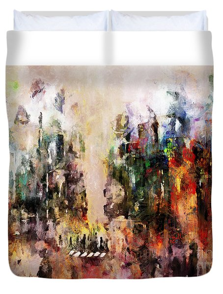 Duvet Cover featuring the photograph City Life by Claire Bull