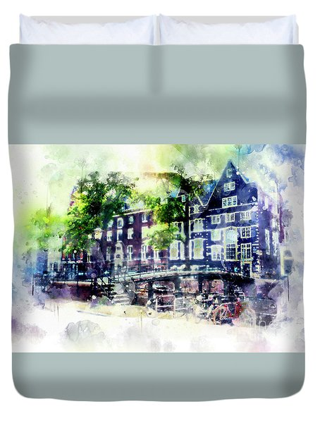 city life in watercolor style - Old Amsterdam  Duvet Cover