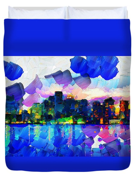 City Lights Limits - Painting Duvet Cover