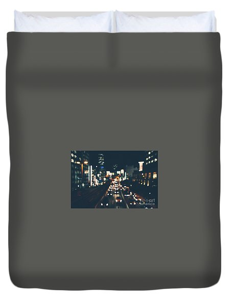 Duvet Cover featuring the photograph City Lights by MGL Meiklejohn Graphics Licensing