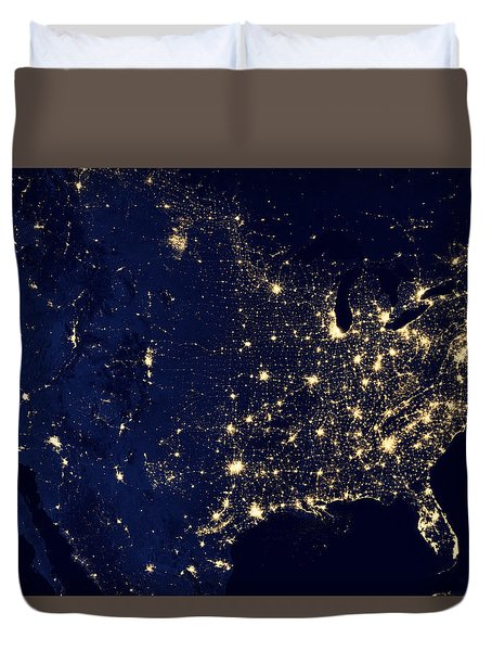 City Lights Of The United States Duvet Cover