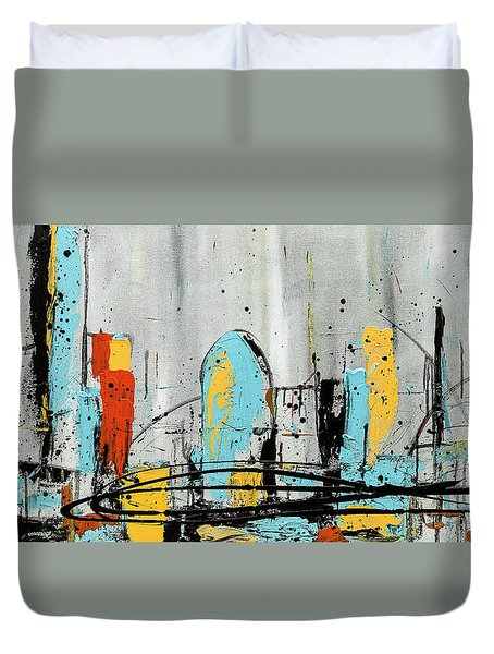 Duvet Cover featuring the painting City Limits by Carmen Guedez