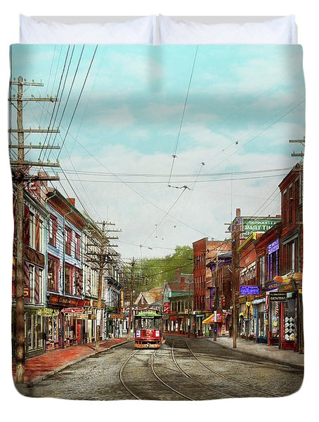 Duvet Cover featuring the photograph City - Ma Glouster - A Little Bit Of Everything 1910 by Mike Savad
