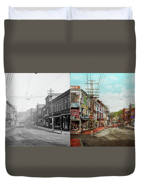 Duvet Cover featuring the photograph City - Ma Glouster - A Little Bit Of Everything 1910 - Side By Side by Mike Savad