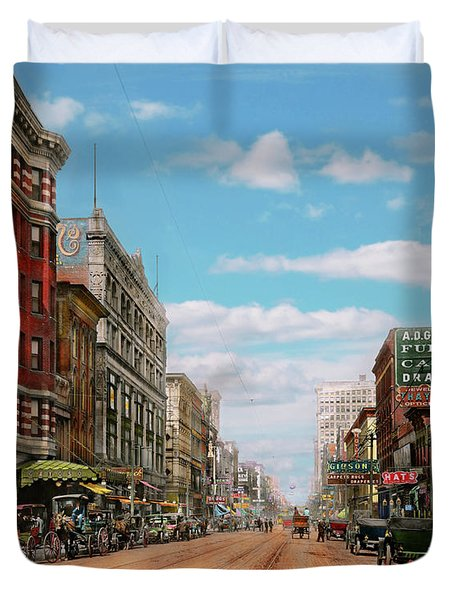Duvet Cover featuring the photograph City - Memphis Tn - Main Street Mall 1909 by Mike Savad