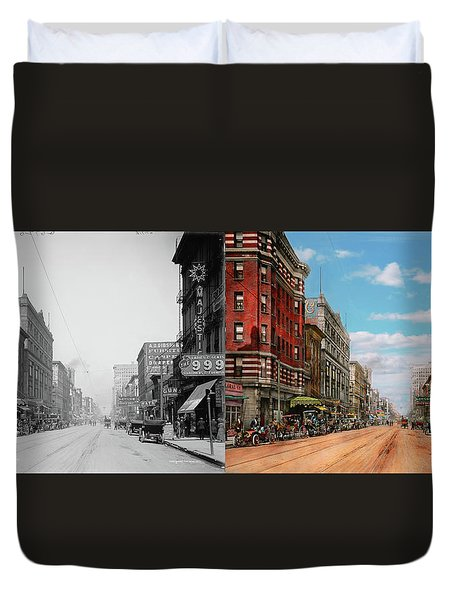 Duvet Cover featuring the photograph City - Memphis Tn - Main Street Mall 1909 - Side By Side by Mike Savad