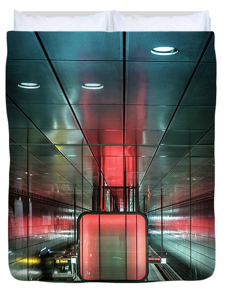 City Metro Station Hamburg Duvet Cover